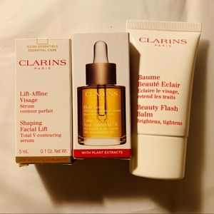 Clarins Lotus face oil, facial lift serum & balm